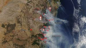Bildergebnis für New South Wales, where 83 fires were still burning, however changes in wind direction in the northeaster